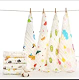 Kassy Pop Muslin Cotton Printed Baby Face Towels, Baby Washcloths - Square Reusable Wipes, Super Absorbing, 0-18 Months (Pack of 5)
