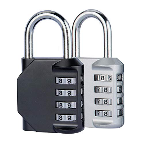 MOVKZACV 2PCS Combination Lock 4 Digit Anti Rust Padlock,Suitable for School, Travel Bag, Locker, Gym, Outdoor Shed(black+black, black+silver)