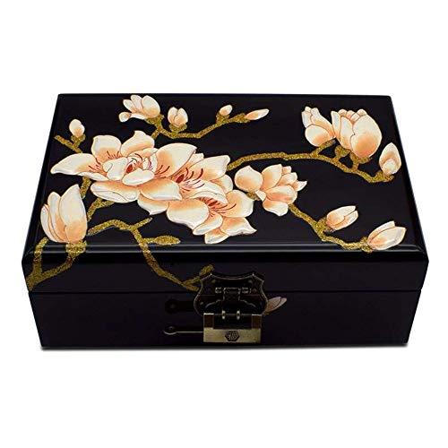 HAIHF Chinese sieradendoos, met de hand beschilderd houten pluche lakken garen juwelendoos bruiloftscadeau met slot massief hout opbergdoos bloem patroon deksel ontwerp A