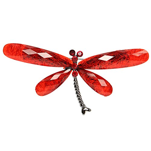 Brooches for Women, Vintage Rhinestone Insect Dragonfly Shape Brooch Pin Animal Breastpin - Red