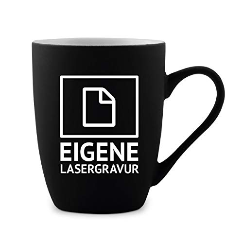 Tasse 300ml Keramik gummiert Teetasse Kaffeetasse individuell Gravur Schwarz - Eigene Gravur