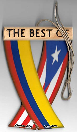 Puerto RICO and Colombia Flag, Boricua Colombiano Flag Caribbean South American Rear View Mirror Hanging CAR Flags Mini Banners for Inside The CAR UNITY FLAGZ