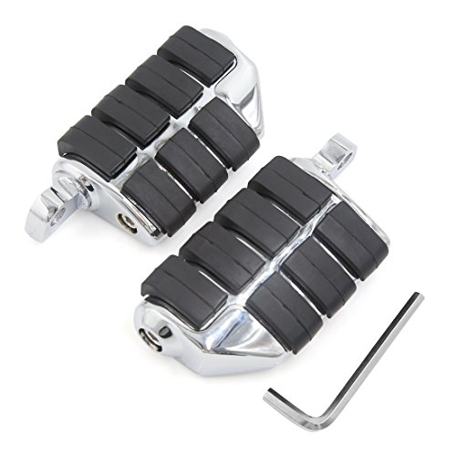 sourcingmap® Chrom Motorrad Halter Dual Fußstütze Fußrasten Set für Harley Davidson Highway Schwarz Silber
