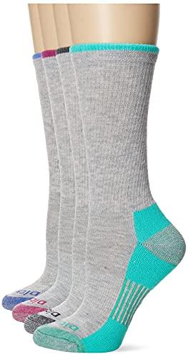 Dickies Women's Dritech Advanced Moisture Wicking Crew Sock (6/12, Grey Assorted (6 Pairs), Shoe Size: 6-9