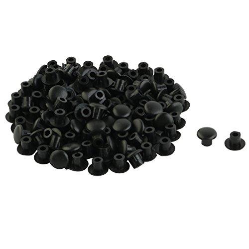 sourcing map Tapones de Tapa 100pcs Mueble de Casa Decor 5mm El Agujero para el Tornillo de plástico Negro