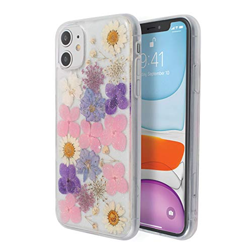 Floral Case Compatible with iPhone 11 (6.1 inch), Glitter Crystal Pressed Dried Real Flowers Soft TPU Cover for Teen Girls Womens Pink Purple, by Insten