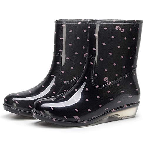 RYTEJFES Damen Gummistiefel Stiefel Rosa Dot Print Halbschaft Rain Boot, Hohe Qualität Wasserdicht Angeln Gummi Regenstiefel