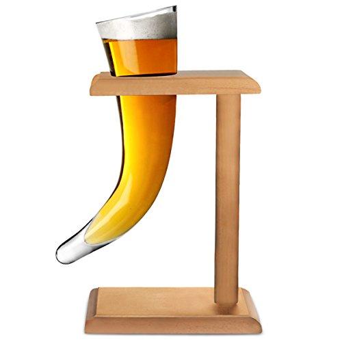 Vikingo Cerveza Cuerno de vidrio con soporte 17 oz / 480ml | Vikingo Cuerno de cristal, de la novedad del vidrio de cerveza, Cuerno Beber