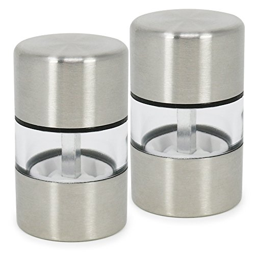 com-four® 2x Mini Salz- und Pfeffermühle aus Edelstahl mit Keramik-Mahlwerk - Küchenzubehör - Salzmühle - Salz und Pfeffer Streuer - Gewürzmühle (02 Stück - Mini)