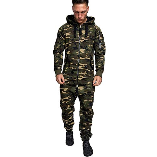 XCVBX Herren Overall Einfarbiger Jumpsuit mit Kapuzenpullover für Herren im Herbst und Winter Reißverschluss Jogging Jogginganzug Sportanzug Trainingsanzug Fitness Streetwear Sportbekleidung