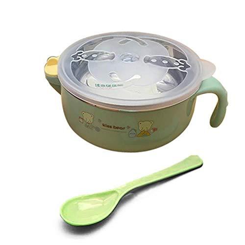 LASISZ Platos para bebés de Acero Inoxidable Tazón portátil Vajilla para niños Aislamiento Sopa de arroz Anti-Caliente Tazón de una Sola manija Dibujos Animados, g