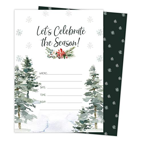 Christmas #4 Holiday Season Party Gathering Invitations Invite Cards (25 Count) With Envelopes & Seal Stickers Vinyl Party (25ct)