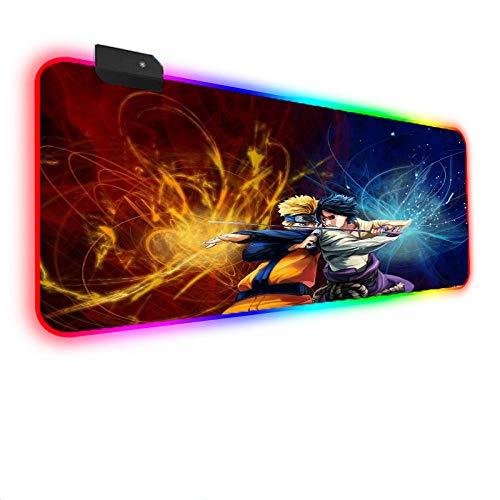 Anime Naruto Kakashi Vs Sasuke RGB LED Mousepad Alfombrilla de Mouse para Juegos con 14 Modos de iluminación Base de Goma Antideslizante para PC, Oficina, Jugador(900×400×4mm)