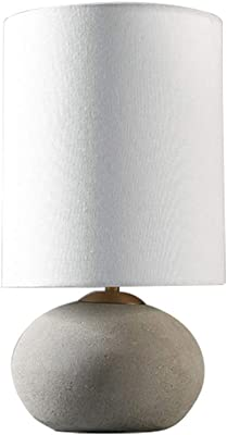 """Bedside Table Lamp Stone & Beam Industrial Round Concrete Table Desk Lamp with White Shade, 17"""" H Desk Lamp"""