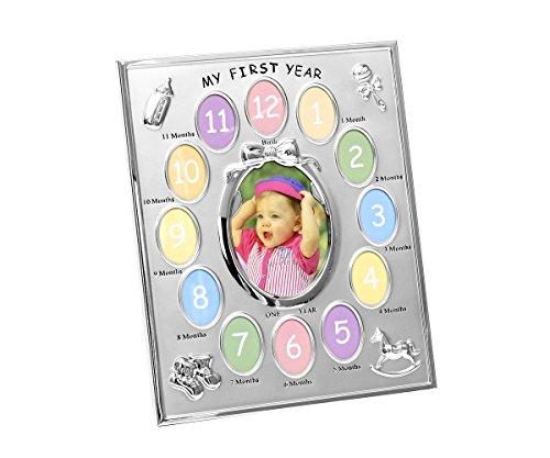 Brillibrum Design portretfotolijst Mijn eerste jaar lijst voor 13 foto's baby fotolijst My First Year fotocollaget verzilverd