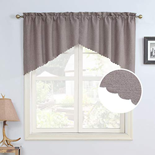 Rama Rose Soft Burlap Look Swag Curtains Rustic Rod Pocket Farmhouse Valance Curtain Panels for Small Window 36 Inch Length, 2 Panels, Taupe