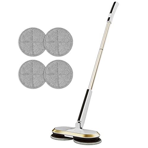 GOBOT Lavapavimenti elettrico senza fili, a mano, girevole a 180°, con 2 accessori aggiuntivi, lucidatrice per pavimenti in legno duro, piastrelle, vinile, marmo e laminato
