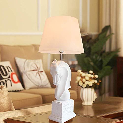 Diseño Personalizado 35 * 77cm Shy turística caballo blanco lámpara de mesa de la sala dormitorio Estudio Luz de lectura moderna de la resina minimalista decorativo creativo Adornos Classic Noble Croc