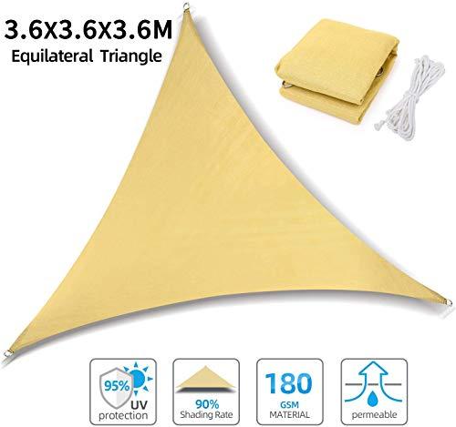 Ohuhu Sonnensegel Dreieck 3,6 x 3,6 x 3,6 m mit M6 Sonnensegel Zubehör, Atmungsaktiv Sonnenschutz HDPE mit UV Schutz für Terrasse, Balkon und Garten