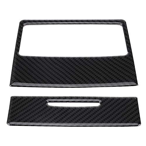 Yctze 2 pezzi Adesivo rivestimento coperchio uscita condizionatore aria posteriore, adesivo rivestimento rivestimento in fibra di carbonio per serie E90 3 2005-2012(without Hole)
