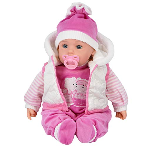 "20"" Lifelike Large Size Soft Bodied Bibi Baby Doll Girls Boys Toy With Dummy & Sounds (White Coat)"