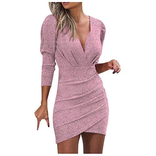 Dasongff Vestido de manga larga para mujer, con lentejuelas, escote en V, vestido de lápiz, minivestido, sexy, vestido de fiesta, vestido corto, cintura alta, vestido de noche, elegante