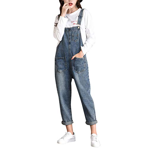 LAEMILIA Latzhose Damen Hose Latzhose Denim Jeansoptik Klasse Vintage Jeans Lang Lässig Baggy Boyfriend Stylisch Overall Jumpsuit (EU 36=Tag L, Blau-36)
