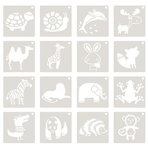 EXCEART 16 Piezas de Plantillas de Pintura de Animales de Dibujos Animados Plantilla de Dibujo Suelo Pared Azulejo Tela Madera Plantillas para DIY Proyectos de Arte Suministros de Muebles
