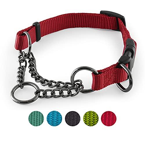 CarlCurt - Training Line: Retriever-Hundehalsband Aus Strapazierfähigem Nylon, Verstellbar, L 43-60cm, Rot