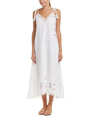 Theory Women's Taytee Light Linen Embroidered Dress, White, 2