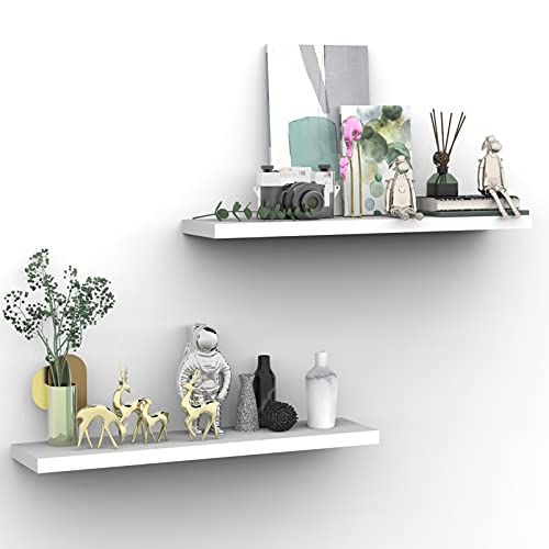 INHABIT UNION White Floating Shelves for Wall-24in Wall Mounted Display Ledge Shelves Perfect for Bedroom Bathroom Living Room and Kitchen Decoration Storage