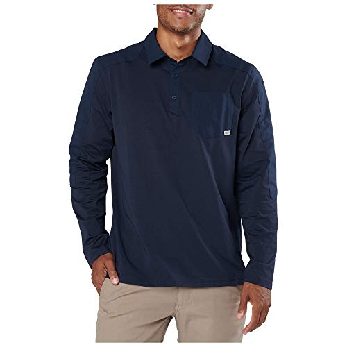 5.11 Tactical Men's Artillery Long Sleeve Polo, Pen Pocket, L, Peacoat, 72125