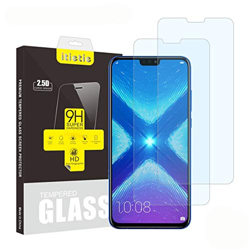 iTieTie Lot de 2 Verre Trempé Honor 9X Lite/Honor 8X Film Protection écran, sans Bulles, Haute définition, Anti-Rayures, 9H La Dureté, Protecteur d'écran en Verre trempé Huawei Honor 8X