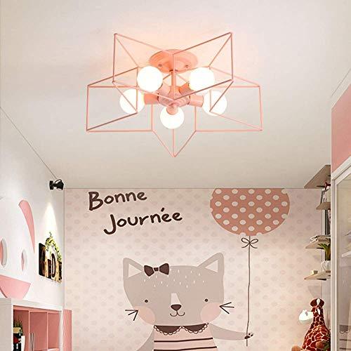 Equipo para el hogar Lámpara de techo Lámpara LED de hierro forjado Estrella de cinco puntas regulable para dormitorio Estudio Iluminación del pasillo Rosa Threecolor60x20cm (Color: Green Size: Thr