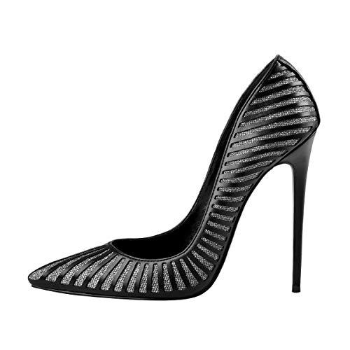 Onlymaker Damen Basic High Heels Spitze Pumps Slip on Stiletto für Kleid Party Office Schuhe mit Streifen-Muster Schwarz 39 EU