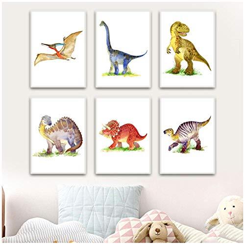 zhaoyangeng dinosaurus muur canvas met kleur-cartoon-schilderij van Scandinavische posters en diermotieven muurschilderijen voor het kinderbed slaapkamer-50X70Cmx6 / niet-ingelijst