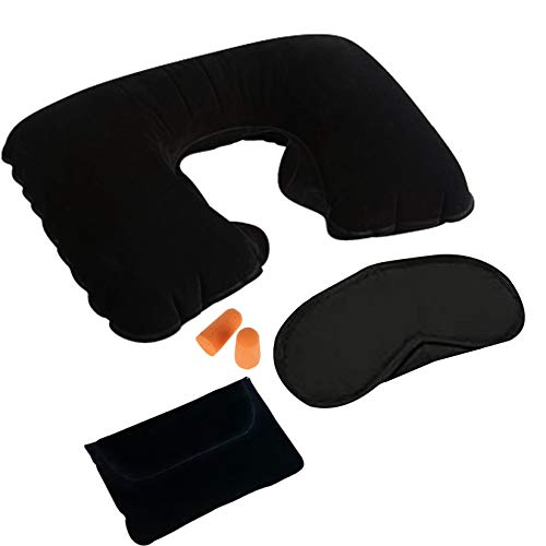 Canotagio Traveler Kit 3 en 1. Almohada de viaje, Antifaz para dormir y tapones para oidos. Kit de Viaje para hombre y mujer. Almohada inflable. Set Travel with Sleep Mask, Ear plugs and Travel Pillow.