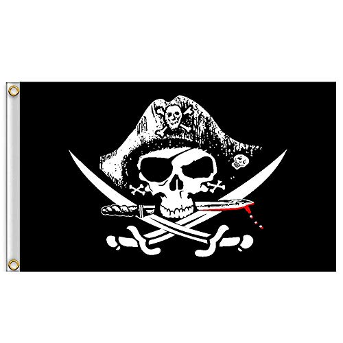 Tuttavia Halloween Huge Skull 2x3ft Crossbones Piratenflaggen Ösen Dekoration Piratenflagge Banner Flag Cap mit Messer und Gabel (60x90CM)