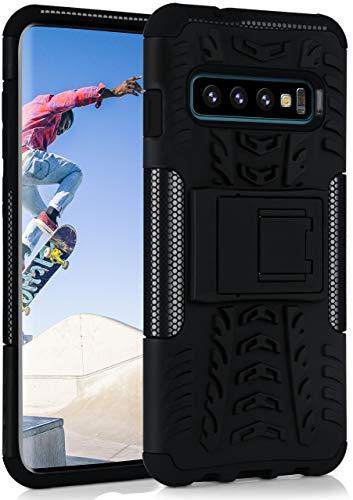 ONEFLOW Tank Hülle kompatibel mit Samsung Galaxy S10 - Hülle Outdoor stoßfest, Handyhülle mit Ständer, Kamera- & Displayschutz, Handy Hardcase Panzerhülle, Obsidian - Schwarz