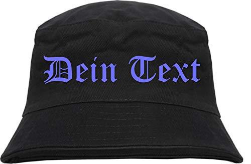 Fischerhut - Bucket Hat mit Wunschtext - Altdeutsch - Bedruckt - L/XL Druckfarbe: blau