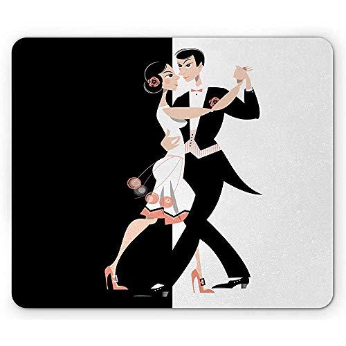 Old Hollywood Mauspad, modernes Tanzpaar Performing Pas de Deux Simplistic, 25 x 30 cm, rutschfestes Gummi, Schwarz/Weiß/Koralle