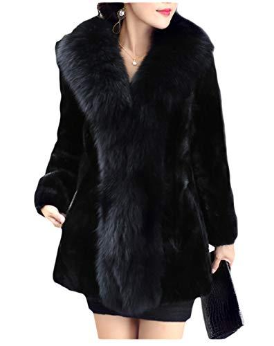 Dawwoti Vrouwen Faux Pelz-lange mantel dikke lange mouwen voorzijde open chunky trekker voor het kerstfeest