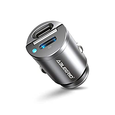 30W PD Car Charger,ABLEGRID 2Port USB C Car Fast Charger Adapter,4.8A All Metal Mini Cigarette Lighter USB Quick Charge Compatible with iPhone 12 Mini/12 Pro/12 Pro Max,Google Pixel 5/4,Samsung