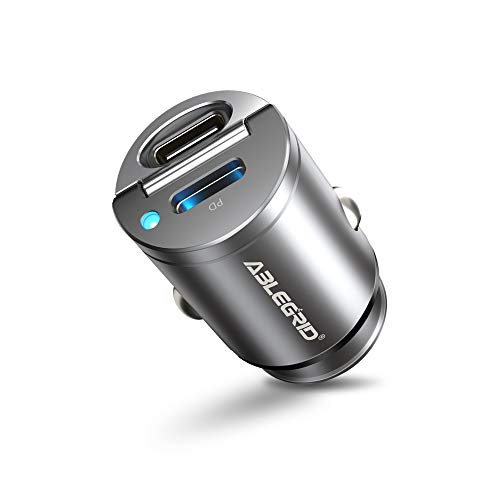 30W PD Car Charger,ABLEGRID Dual Port USB C Car Fast Charger Adapter,4.8A All Metal Mini Cigarette Lighter Type C Quick Charge Compatible with iPhone 12 Mini/12 Pro/12 Pro Max,Google Pixel 5/4,Samsung