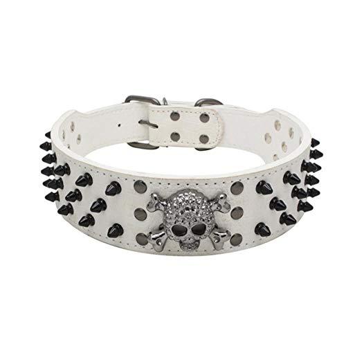 VOWAN 1 pcs Collares para Perros Grandes Accesorios con Pinchos Suministros Correa de Remache para Collar de Collar para Mascotas de Perro Grande, Blanco, M
