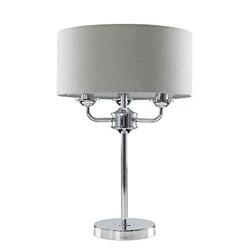 Moderna lámpara de pie con 3 brazos, cromada con pantalla de lino gris