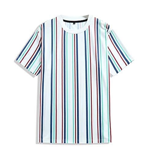 SSBZYES Camiseta para Hombre Camiseta De Verano De Manga Corta Camiseta a Rayas para Hombre Camiseta De Manga Corta para Niño con Mangas Verticales Jersey Suelto con Cuello Redondo Y Rayas Verticales