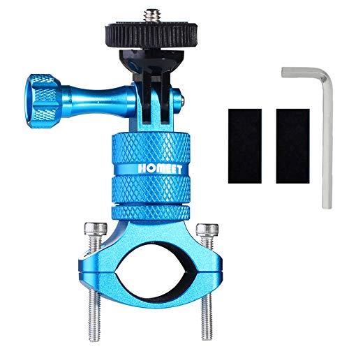 Homeet Fahrrad Halterung für Actionkameras, 20mm-35mm Lenker Kamerahalterung 360 Grad Motorrad Fahrradhalterung Halterungen aus Aluminium mit Schraube, Blau