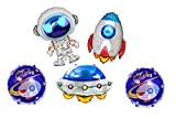 For Birthday party celebration decoration, children's toys,Space Theme etc. Package contains- 1 pc Astronaut, 1 pc UFO, 1 pc Rocket and 2 pc Round Happy Birthday Balloons Perfect for Space theme party Can be used repeatedly, easy to charge and discha...
