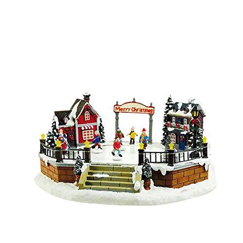 ARTE DEGLI ARGENTI Carillon Villaggio Natalizio con Pista di Pattinaggio su Ghiaccio con 8 Diverse Melodie Natale LUCI LED E Bimbi Che PATTINANO 60033